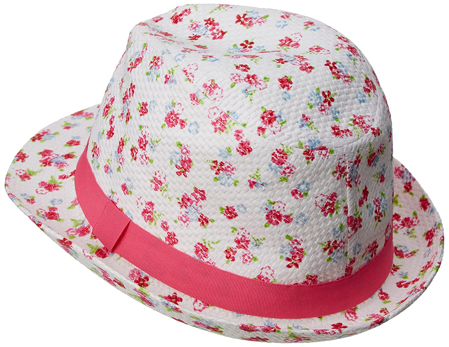 79bea580a Pumpkin Patch Girl's Printed Fedora Floral Hat, Pink (Raspberry ...