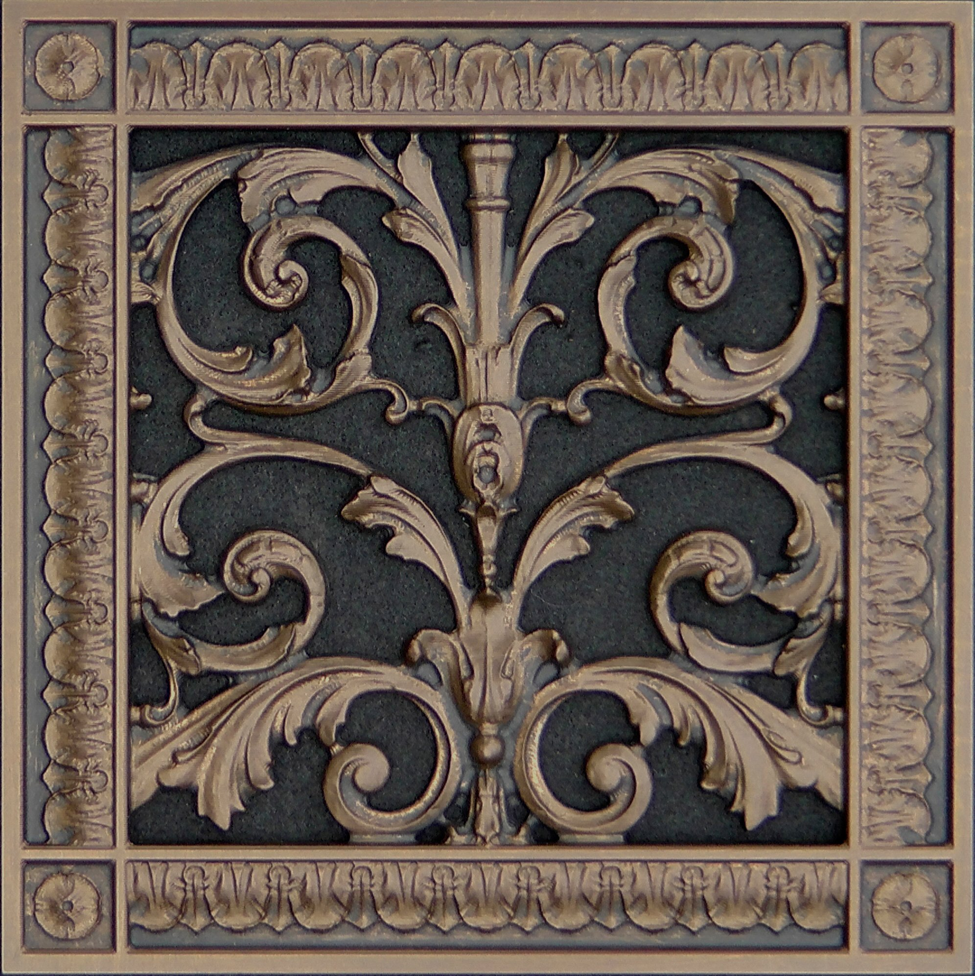 "Decorative Vent Cover, Grille, made of Urethane Resin in Louis XIV, French style fits over a 8"" x 8"", Total size, 10"" by 10"", for wall & ceiling installation only. (not for floors) (Dark Bronze)"