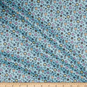 Polyurethane Laminate-GA522-C Flower Face Blue Fabric by the Yard