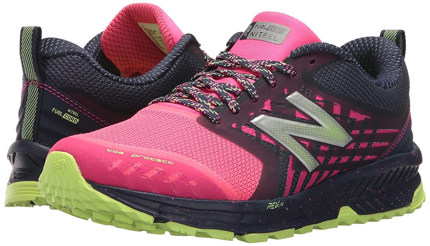 Amazon.com | New Balance Womens Nitrel v1 FuelCore Trail Running Shoe, Grey/Pink, 5.5 D US | Trail Running