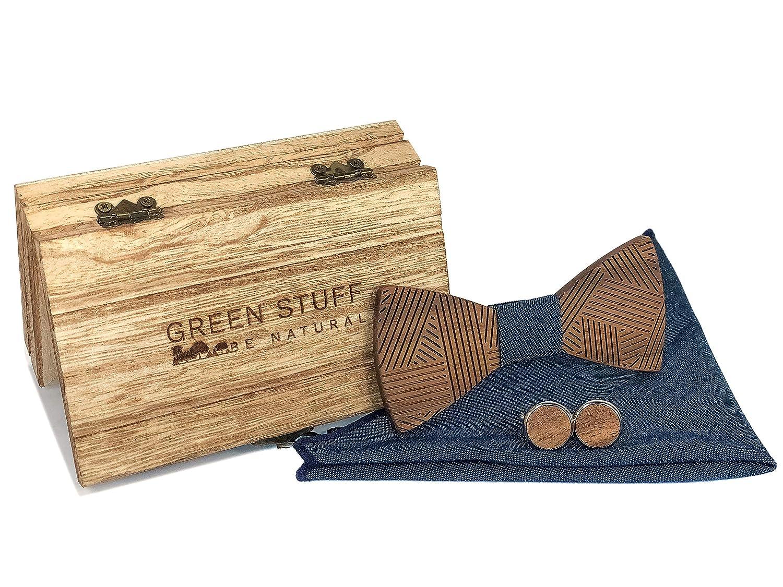 Papillon in legno ecologico 1 prodotto acquistato = 1 albero piantato Green Stuff Johan Realizzato a mano in legno di noce con gemelli e fazzoletto da taschino abbinati