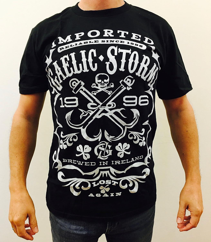 707ac891 Amazon.com: Gaelic Storm Irish Whiskey Label T Shirt – 'Brewed in Ireland'  Black Celtic Band Tee: Clothing