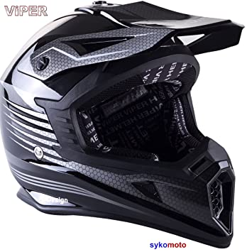 VIPER RS X95 MOTOCROSS MOTO QUAD ATV DIRT ENDURO OFF ROAD DEPORTE CARRERAS MOTO CASCO NEGRO