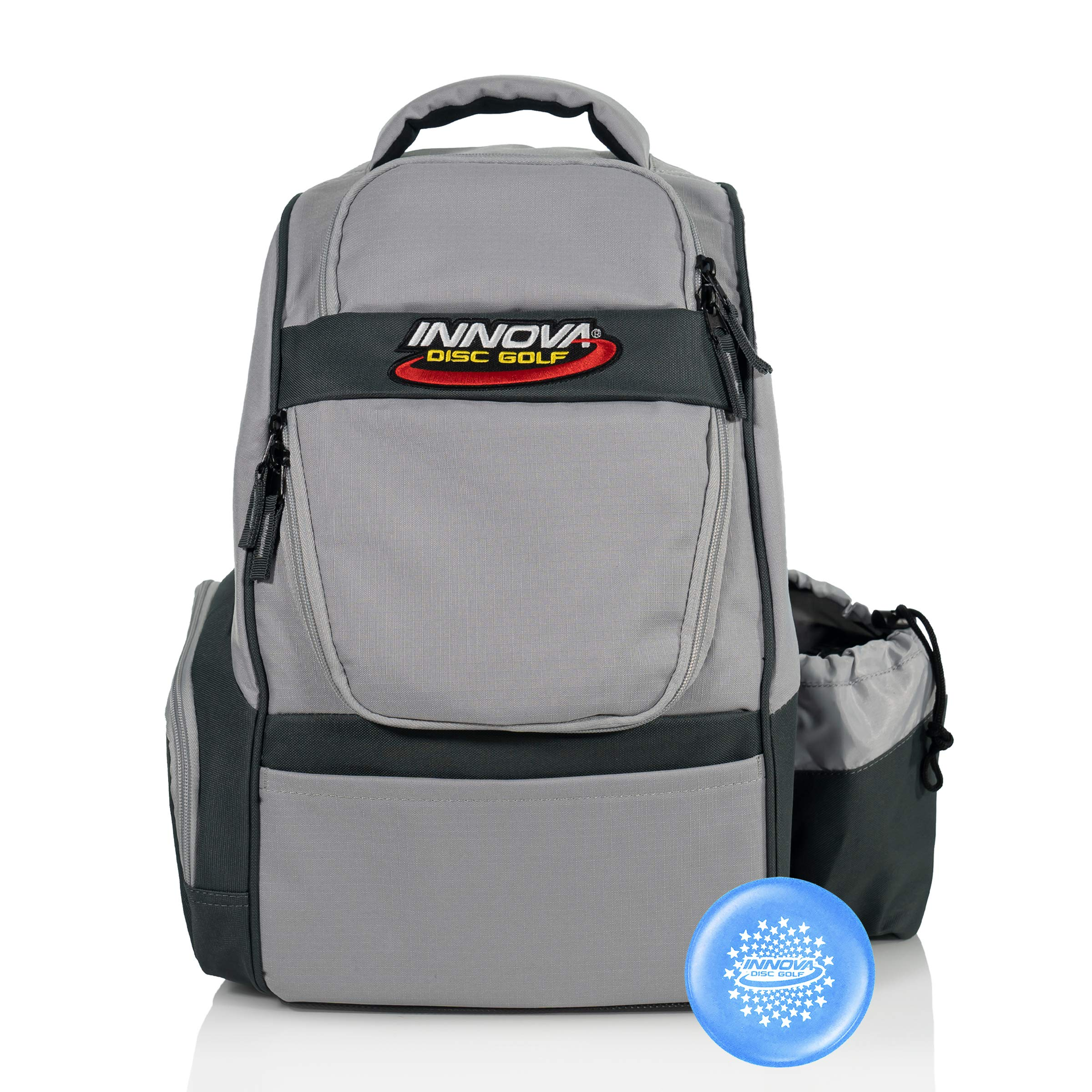 Innova Adventure Pack Backpack Disc Golf Bag - Holds 25 Discs - Lightweight - Includes Innova Limited Edition Stars Mini Marker (Silver/Grey) by Innova Disc