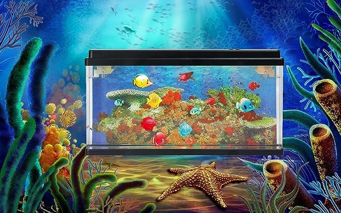 Lightahead® Artificial océano mundo peces LED Acuario (17,5 x 10 cm) Multi Color LED Tanque de peces con burbujas y 5 Efectos Que Cambia de Color: ...
