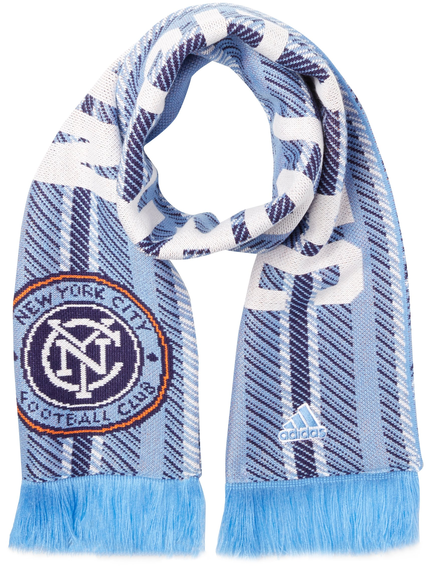 adidas MLS New York City FC Jacquard Scarf with Block Name, One Size, Blue