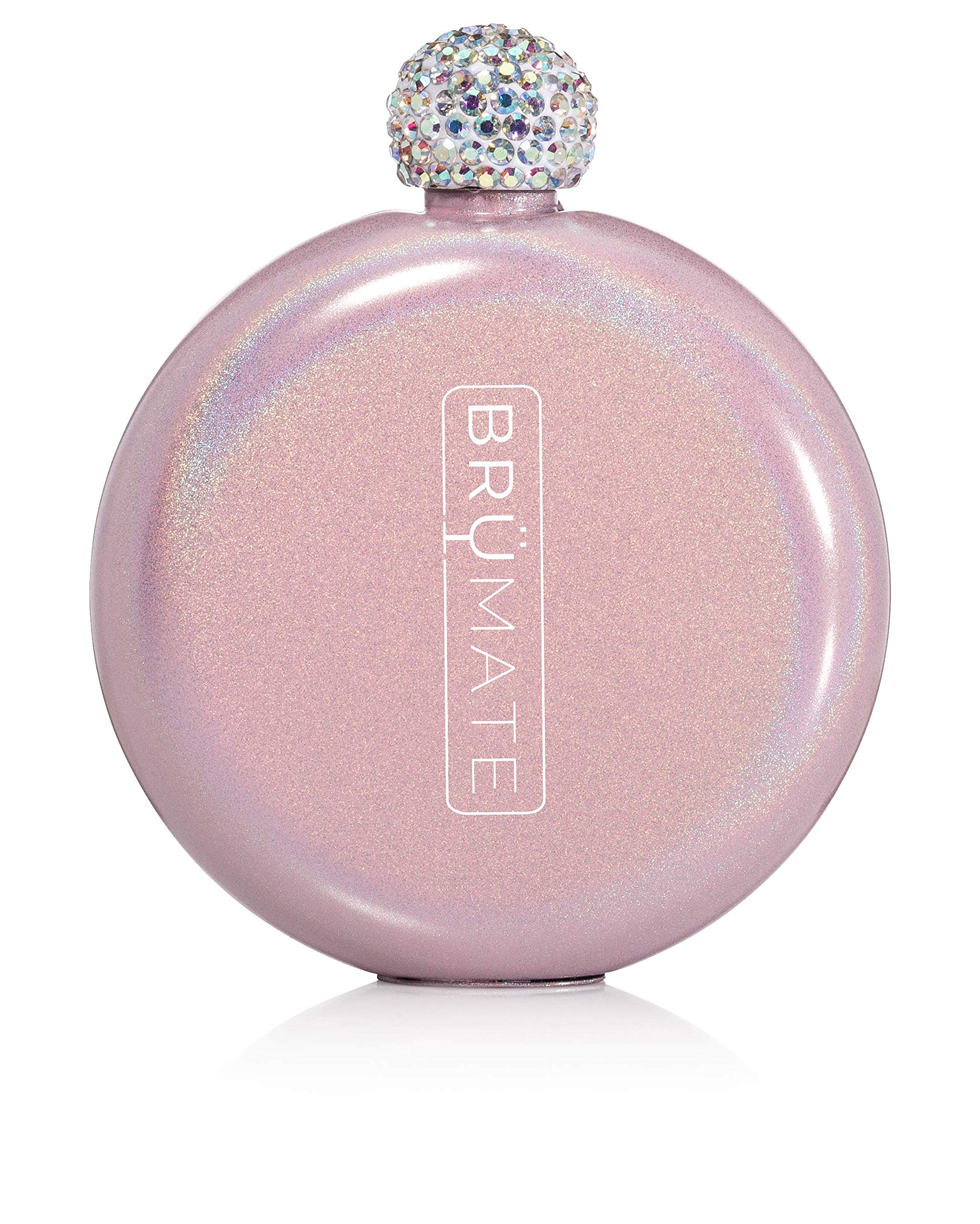 Brümate Holographic Glitter Spirit Flask - 5oz Stainless Steel Pocket & Purse Liquor Flask with Rhinestone Cap - Cute, Girly & Discreet for Drinking - Perfect Gift for Women (Glitter Blush)