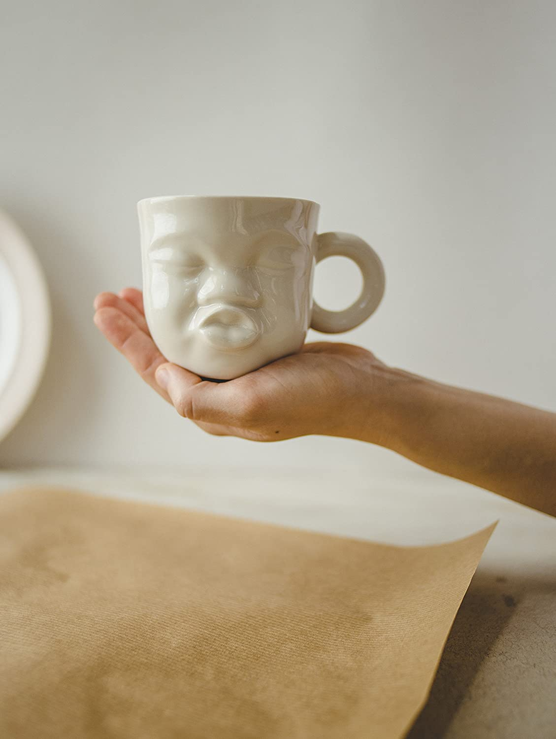 Modern white porcelain small coffee tea or dessert cup with a cute and funny kissing face by SinD studio