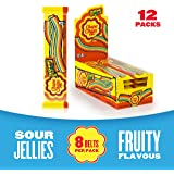 Chupa Chups Sour Belts Jellies - A Delicious Rainbow-coloured Road to Fun - 57g Packs (Multipack of 12 Units)