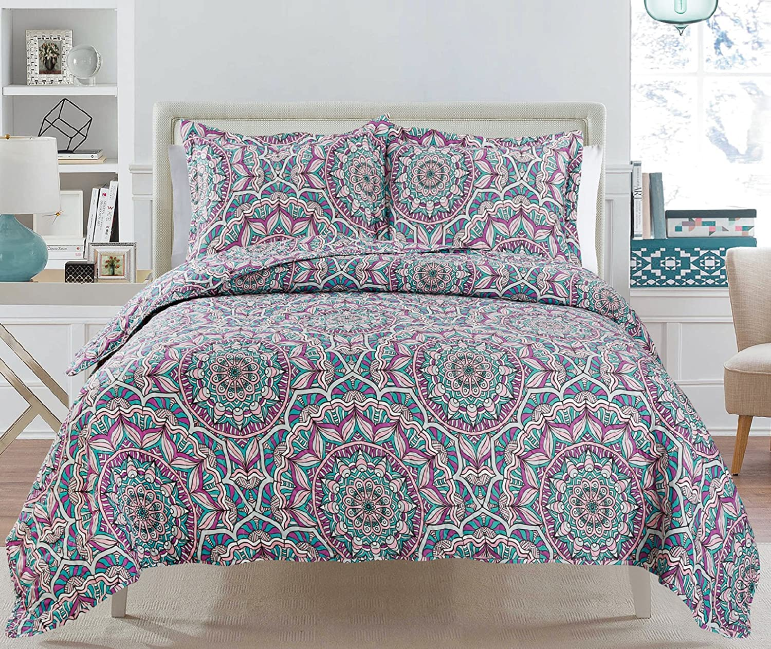 3 Piece Quilt Set Bedspread Set King Reversible Suri Love BRIA Quilt Collection