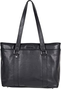 """Kenneth Cole Reaction Women's Downtown Darling Leather Single Compartment 16"""" Laptop Tote, Black"""