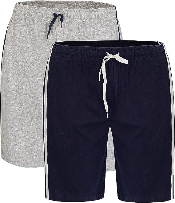 2 unidades de pantalones cortos de algodón para hombre con cintura elástica super suave y cómodo pijama ropa de dormir pijama ropa de dormir: Amazon.es: Ropa y accesorios
