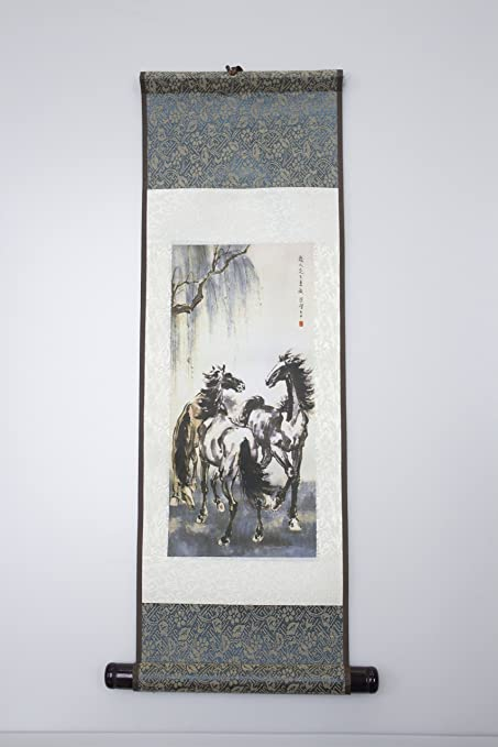 amazon com chinese scroll painting reproduction three mustangs