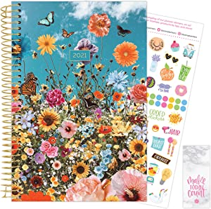 """bloom daily planners 2021 Calendar Year Day Planner (January 2021 - December 2021) - 6"""" x 8.25"""" - Weekly/Monthly Agenda Organizer Book with Stickers & Bookmark - Wildflowers"""