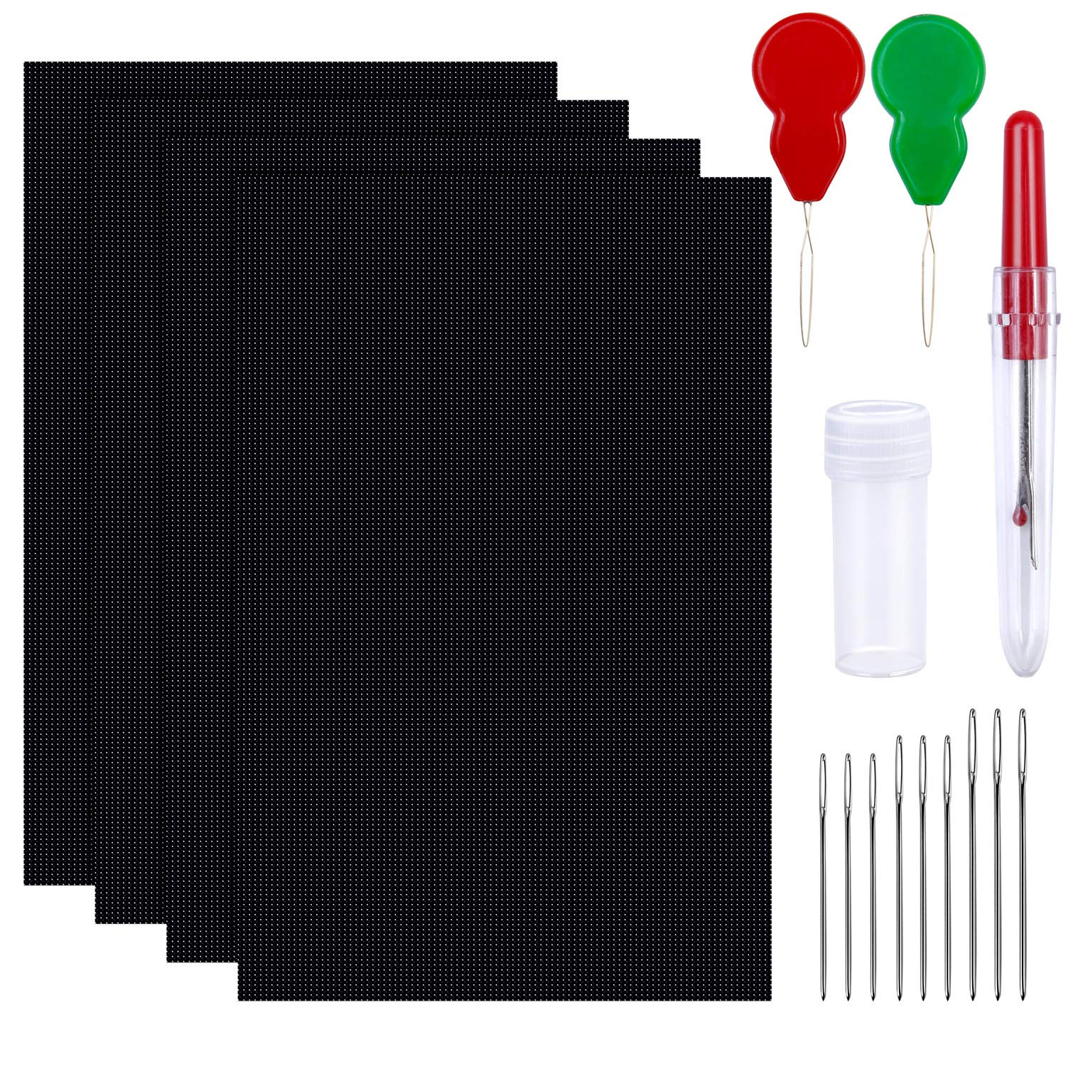 Elcoho 4 Pieces 14 Count 12 by 18 Inch Black Classic Reserve Aida Cloth with 2 Needle Threader 1 Seam Ripper 9 Large Eye Needles (Black)
