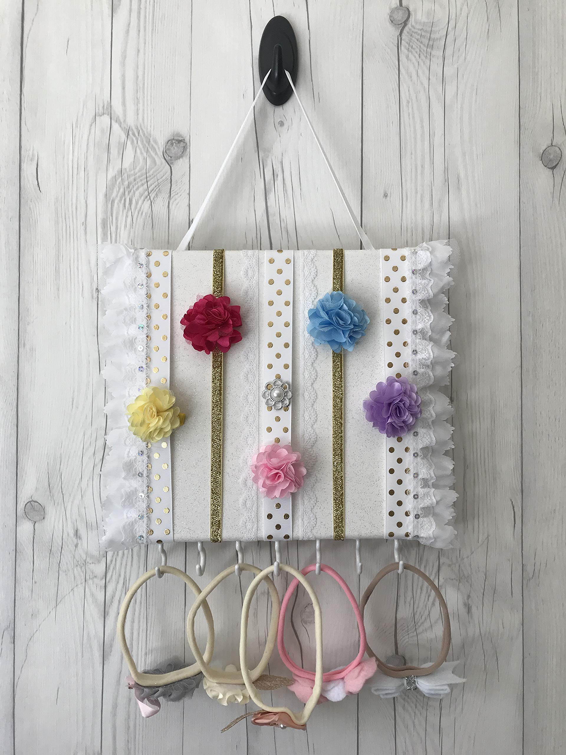 Bead&Cord 10''x10'' Canvas Hair Bow and Baby Elastic Headband Organizer (White & Lace Gift Set) by Bead&Cord (Image #3)