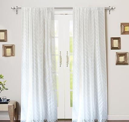 DriftAway Hayden Chevron White Voile Sheer Window Curtains Set of Two Panels, Rod Pocket,