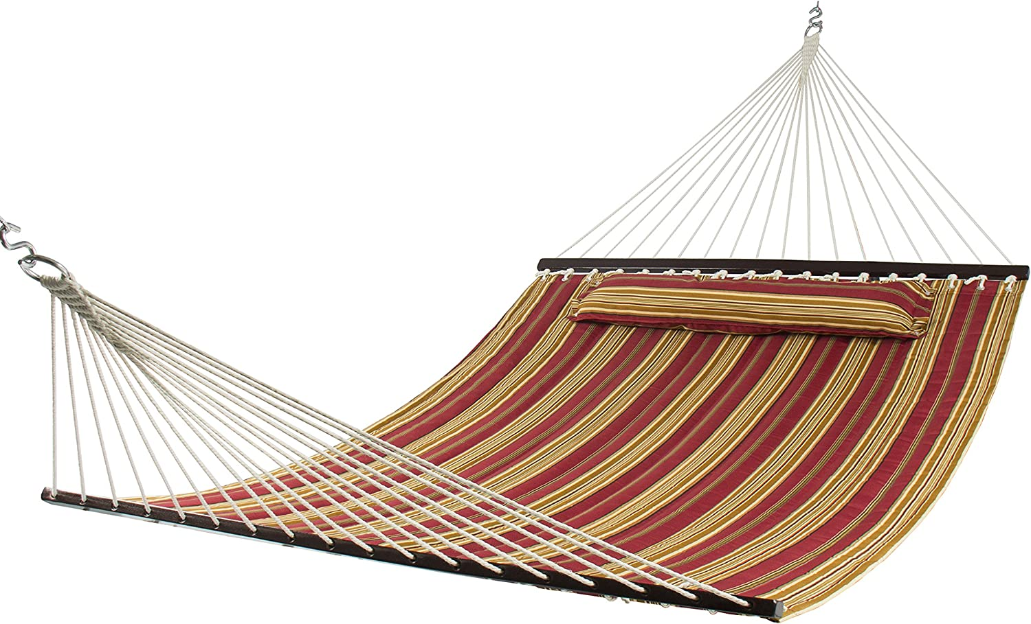 Best Choice Products Double Size Quilted Hammock - 450 lb Weight Capacity - Red Stripe