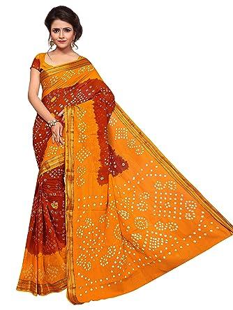 f4e9244393 Drashti villa woman's Two Color combination Bandhani Saree With Blouse Piece  (Yellow): Amazon.in: Clothing & Accessories