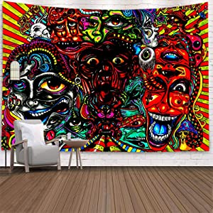 Trippy Tapestry Wall Hanging, Hippie Tapestry Surreal Abstract Psychedelic Tapestries for Dorm Bedroom Living Room Asthetic Room Decor, 51.2 X 59.1 Inches