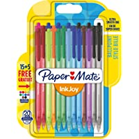 Paper Mate InkJoy 100RT Lot de 20 Stylos bille rétractable pointe moyenne Couleurs Assorties