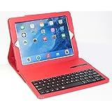 【HAIKAU】  iPad(第4世代、第3世代) iPad2 兼用 無線式キーボード内蔵ソフトレザーケース スリープ機能付き 【USキーボード】 Bluetoothキーボード 日本語操作説明書付き レッド Bluetooth Keyboard Case for ipad (4th,3rd,2) Red