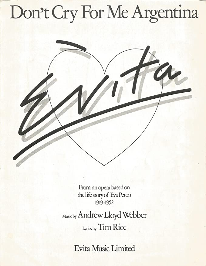 Andrew Lloyd Webber: Dont Cry For Me Argentina. Partituras ...