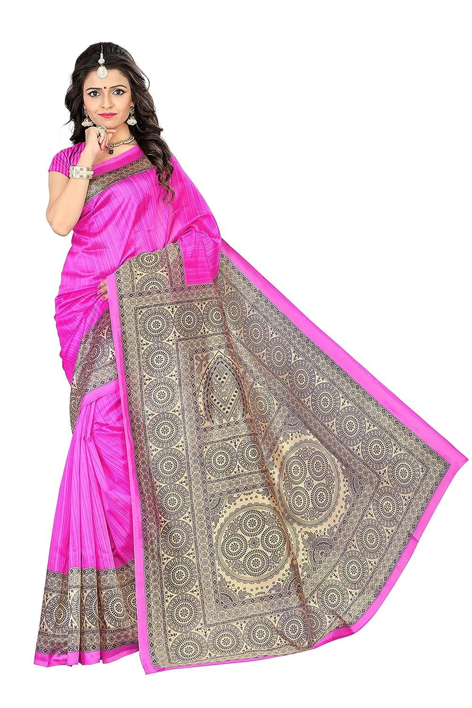 ac9652960f5 Amazon.com  Jaanvi Fashion Women s Mysore Art Silk Saree (Printed Pink)   Clothing