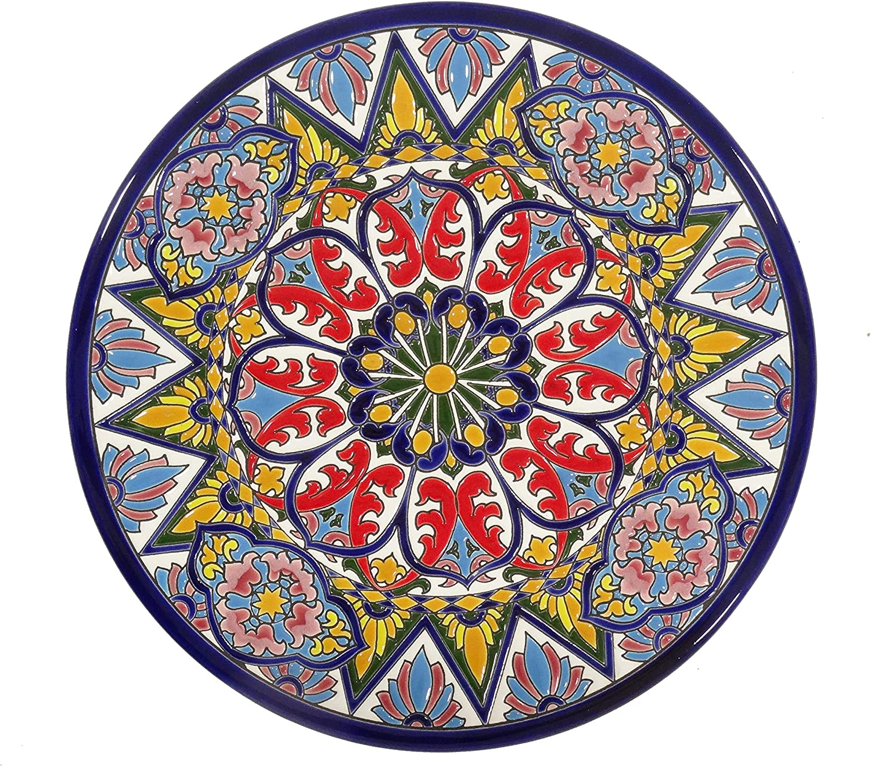 Grabado y Cer/ámica Espa/ñola Platos Decorativos para Pared Cer/ámica Andaluza 28 cm.52805 Pintados a Mano con la t/écnica de la Cuerda Seca