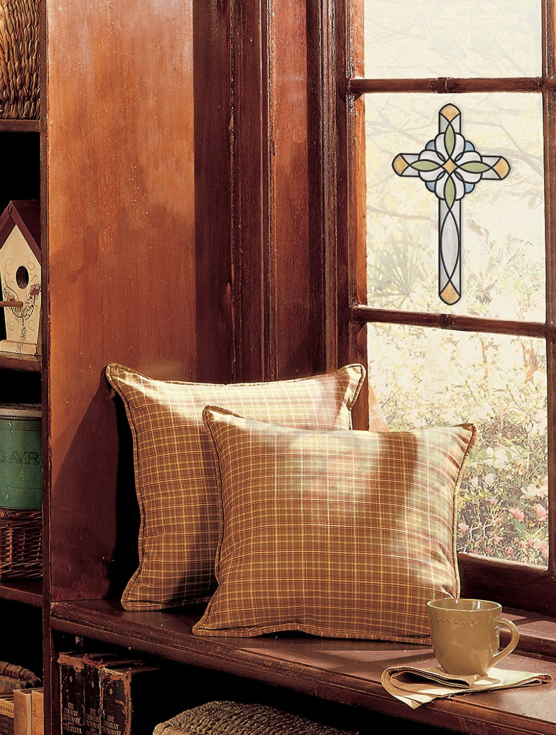 Brewster SG0372 7.7-Inch-by-10.5-Inch Amber Blue Cross Stained Glass Applique Brewster Wallcovering Co