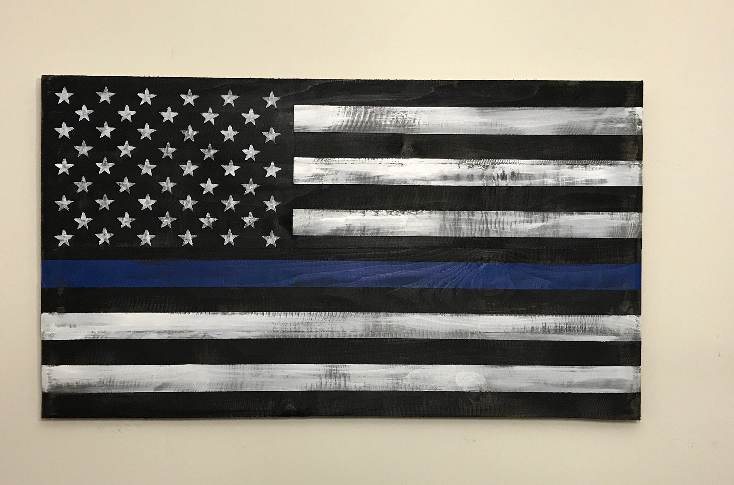 Reclaimed wood Thin Blue Line Flag, Wood Thin Blue Line Flag 22x40'', veteran made. pallet wood flag by Lee Keller Art