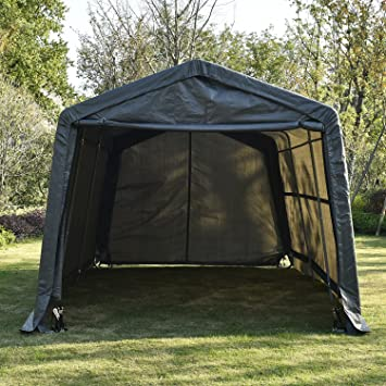 UHOM 10x15x8ft Outdoor Tent Instant Garage Auto Storage Shed Shelter Steel Canopy Carport Gray & Amazon.com: UHOM 10x15x8ft Outdoor Tent Instant Garage Auto ...