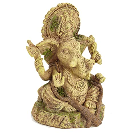 Pet Ting - Estatua de Buda de Ganesh Antiguo para Acuario de Resina y Reptil de
