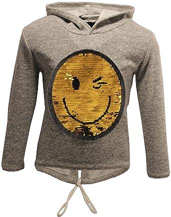 b6c1afb2ebc7ce Unbekannt Smile Happy Sad Mädchen Kapuzen Pullover Pulli Wende Pailletten  Sweatshirt Hoodie (116, Grau