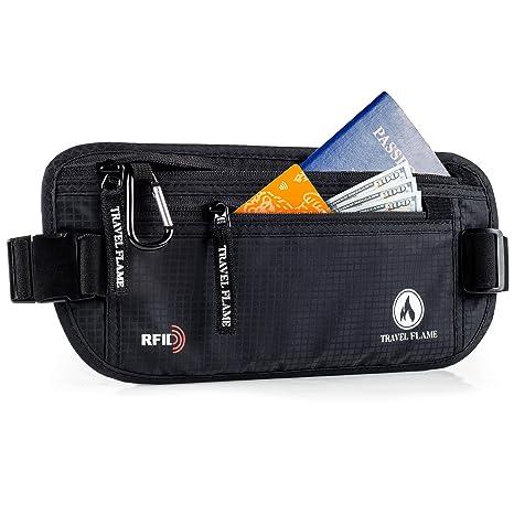 11163ff5a26e Travel Money Belt for Women and Men, Hidden RFID Blocking, Secure  Waterproof Waist Pouch (black)