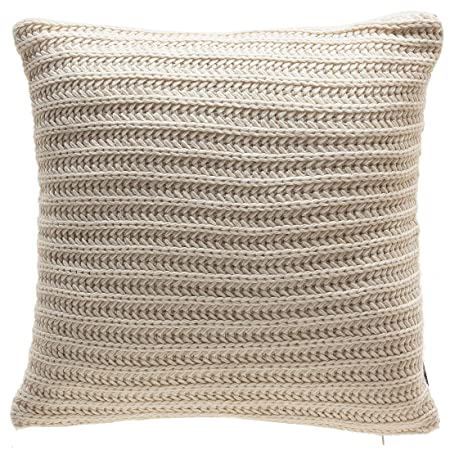 TINA S HOME Knitted Decorative Throw Pillows with Down Alternative Filling Cozzy Acrylic Solid Color Toss Accent Pillows for Couch Sofa Bed Decor 20×20, Beige