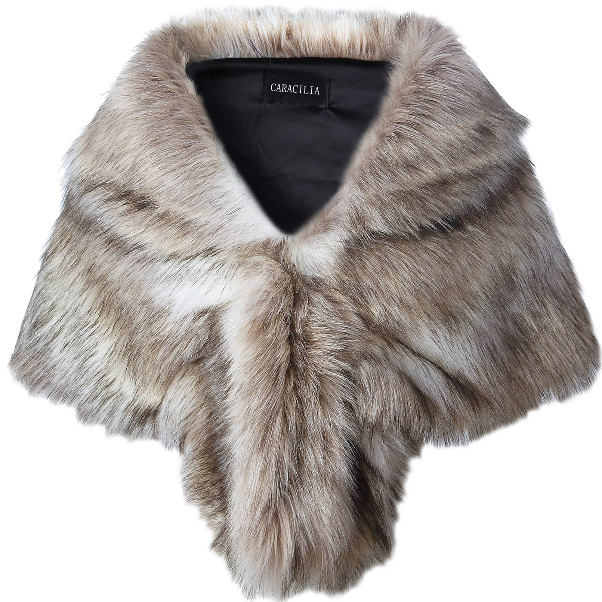 Caracilia Faux Fur Shawl Wrap Stole Shrug Winter Bridal Wedding Wrap FoxFur L CA95,  Fox White / Brown by Caracilia