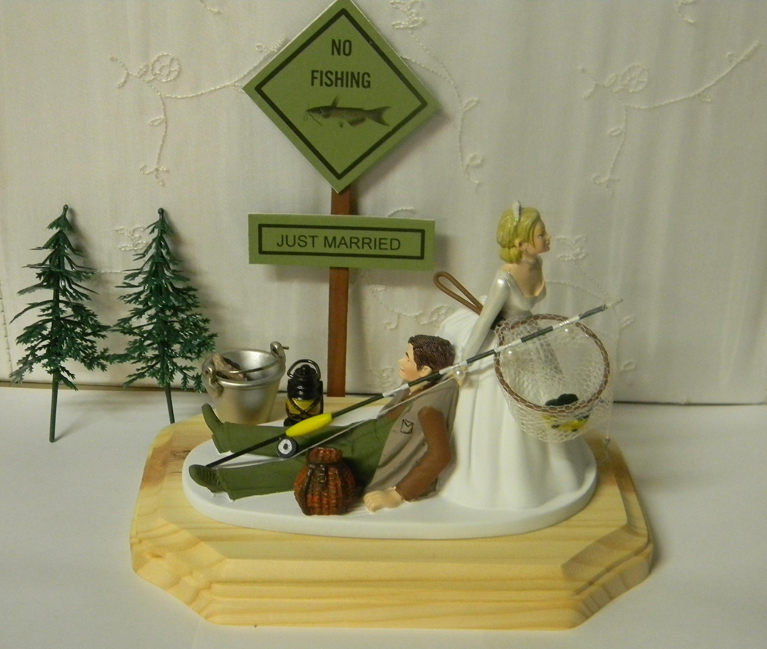 Wedding rception party custom design fishing Fisherman Redneck Cake Topper