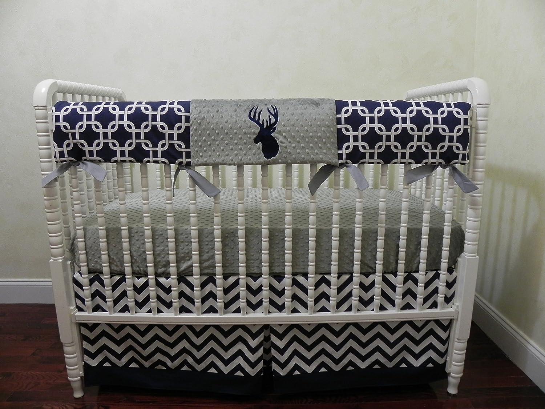 Nursery Bedding, Bumperless Baby Crib Bedding Set Bentley, Baby Boy Bedding, Crib Rail Cover, Woodlands Deer Baby Bedding, Navy and Gray Crib Bedding - Choose Your Pieces