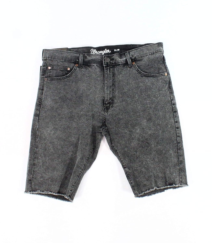 Wrangler Mens Slim Fit Frayed Hem Cut-Off Denim Shorts