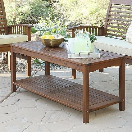 Amazon Com We Furniture Solid Acacia Wood Patio Coffee Table
