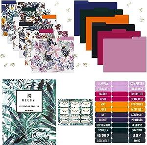 NELOVI Decorative File Folders Gift Pack! 12 Cute File Folders Letter Size, File Folder Labels and Cute Paperclips for Files! Floral File Folders & Colored File Folders. 9.5x11 Filing Manilla Folders