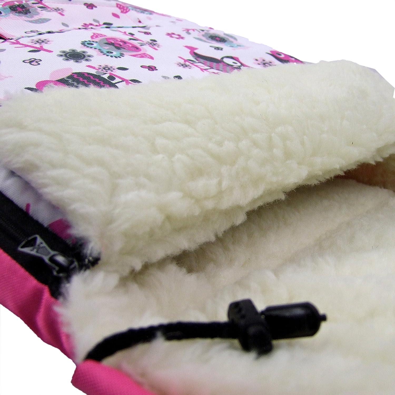90cm//Motiv $4 Buggy BAMBINIWELT KOMBI-ANGEBOT Muff//Handw/ärmer Kinderwagen aus Wolle im Eulendesign auch geeignet f/ür Babyschale universaler Winterfu/ßsack