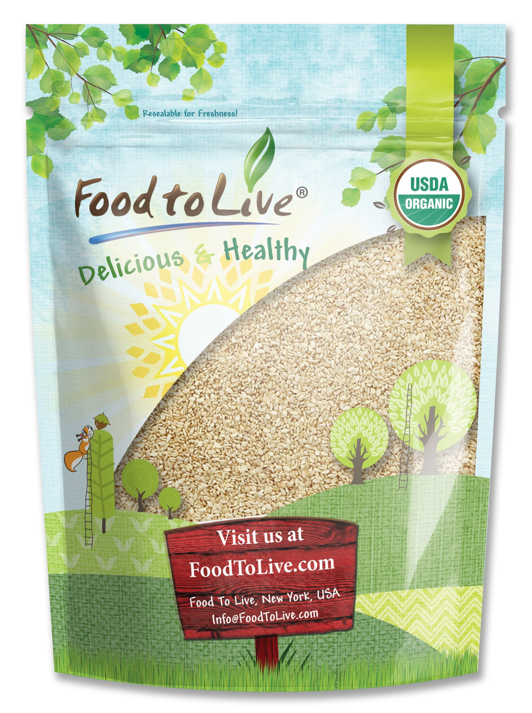 Food To Live Certified Organic Sesame Seeds (Raw, Hulled, Kosher) (4 Pounds)