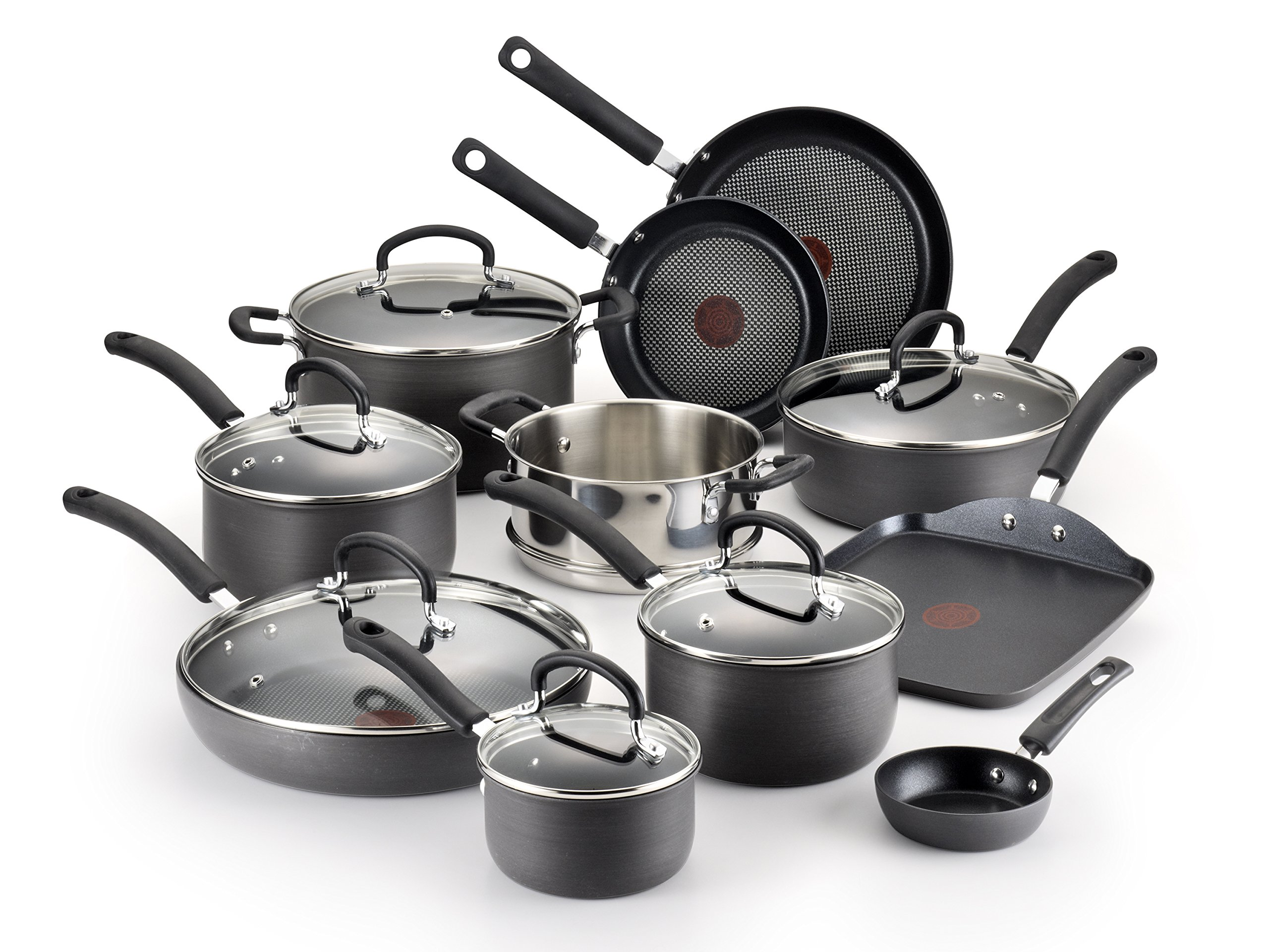 T-fal E765SH Ultimate Hard Anodized Scratch Resistant Titanium Nonstick Thermo-Spot Heat Indicator Anti-Warp Base Dishwasher Safe Oven Safe PFOA Free Cookware Set, 17-Piece, Gray by T-fal