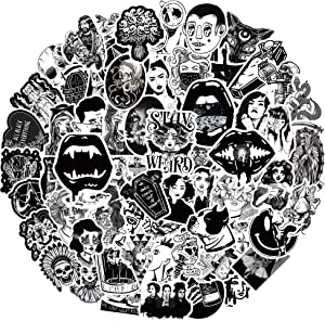 Gothic Stickers 100PCS Cool Stickers for Teens Vinyl Waterproof Stickers Removable Stickers for Laptop Water Bottle Skateboard Phone Case, Black and White Stickers for Boys Girls (Cool Gothic)
