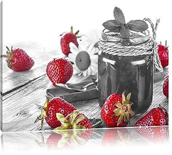 Fraises Fruitées Devant Pot De Confiture Noir Blanc Taille 100x70