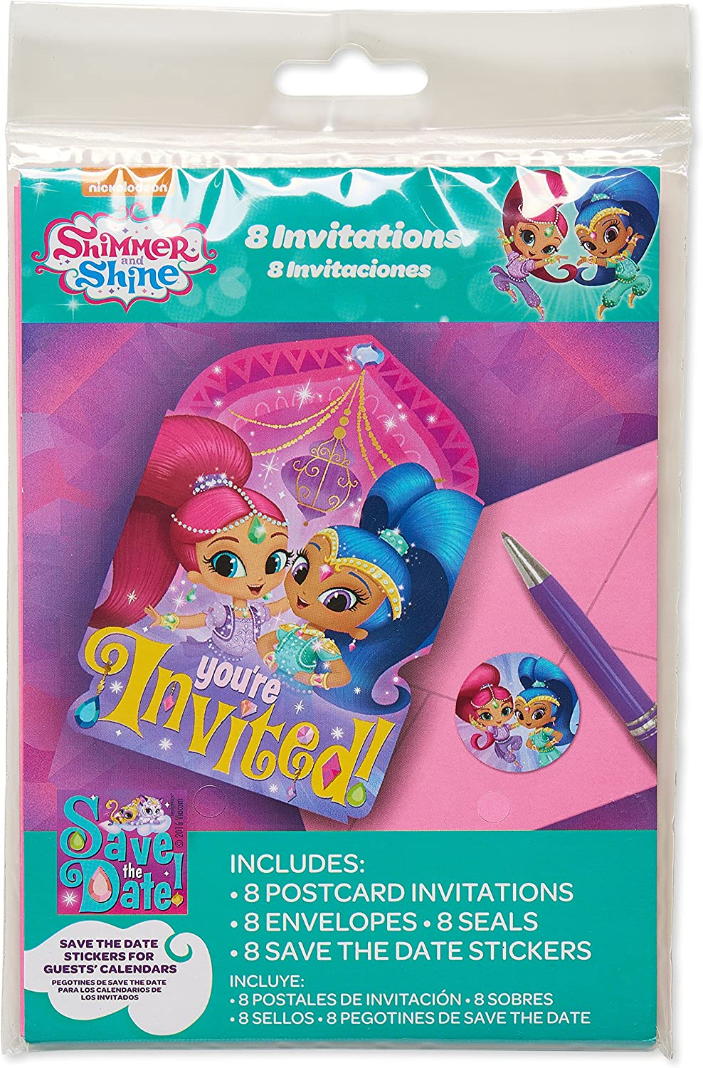 American Greetings 5673650 Shimmer and Shine Invite Postcards (8 Count), Multicolor