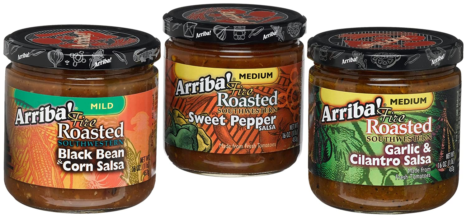 Fire Roasted Southwestern Salsa Variety Pack (Sweet Pepper, Garlic & Cilantro, Black Bean & Corn), 16-Ounce Jars (Pack of 3)