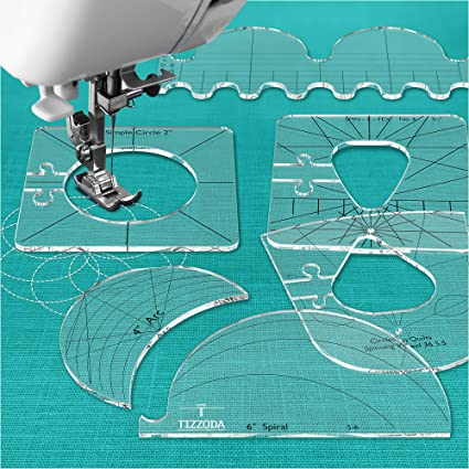 Quilting Tool Template Tool for Quilting Sewing Tools New Ruler Sewing Tools New Ruler Template Sampler Set for Domestic Sewing Machine Quilting Rulers and Templates Thickness 1//4